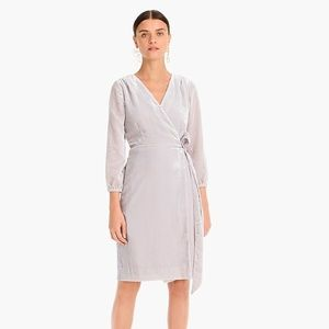 J. Crew Wrap Dress in Drapey Velvet Oyster Grey